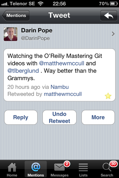 Darin Pope's Comment about the Git Master Class O'Reilly Videos